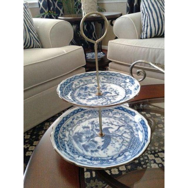 Vintage Oriental Blue Peacock Dessert Tray - Image 2 of 4