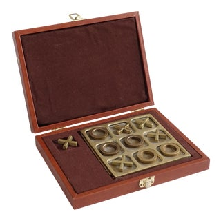 Vintage Brass Tic Tac Toe Game in Box