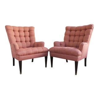 Vintage Pink Tufted Armchairs - A Pair
