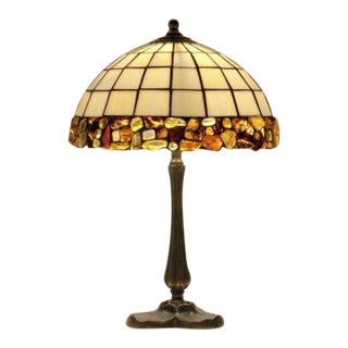"""10"""" Stained Glass & Natural Amber Desk Lamp"""