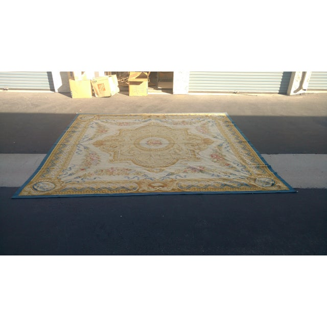 Antique French Aubusson Rug - 9′3″ × 10′3″ - Image 2 of 7