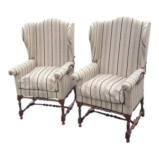 Antique Wingback Barley Twist Chairs - A Pair