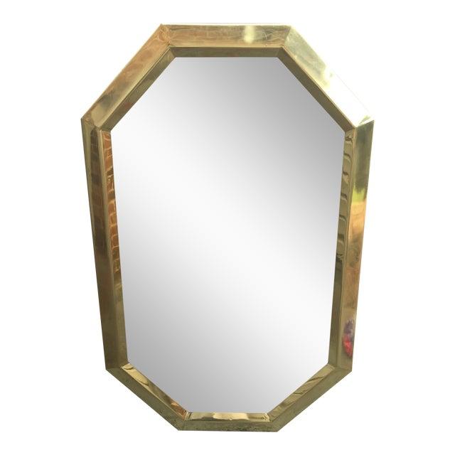 Large Vintage 1970s Modernist Mastercraft Solid Brass Octagon Mirror - Image 1 of 11