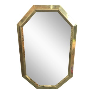 Large Vintage 1970s Modernist Mastercraft Solid Brass Octagon Mirror