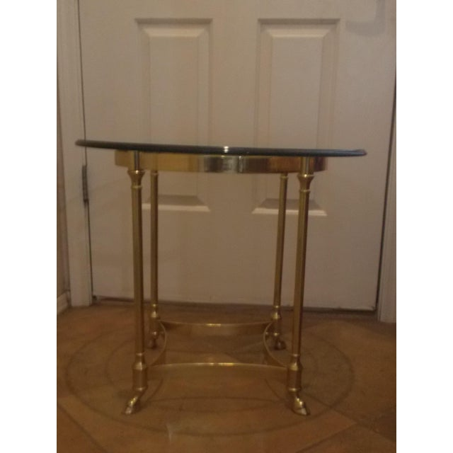 Image of La Barge Glass & Brass End Table - A Pair