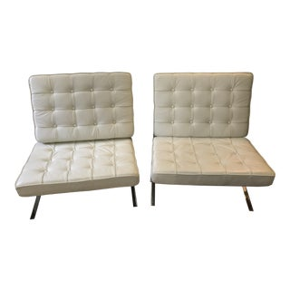 Vintage White Tufted Leather Barcelona Chairs - A Pair