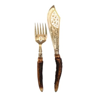 English Antler Handled Fish Set- 2 Pieces