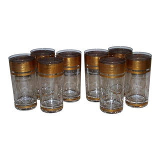 Highball Glasses with Gilt Band and Sweat Drips - Set of 8