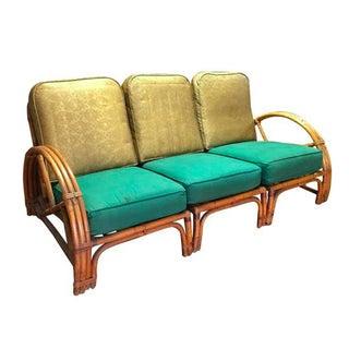 Vintage Bamboo Art Deco Modular Sofa