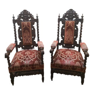 Antique Carved Gothic Revival Hall Chairs - A Pair