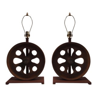 Industrial Cast Iron Lamps - Pair