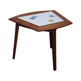 Samson Berman Teak Trapezoidal Tile Top Side Table