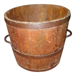 French Wooden Grape Pickers Bucket