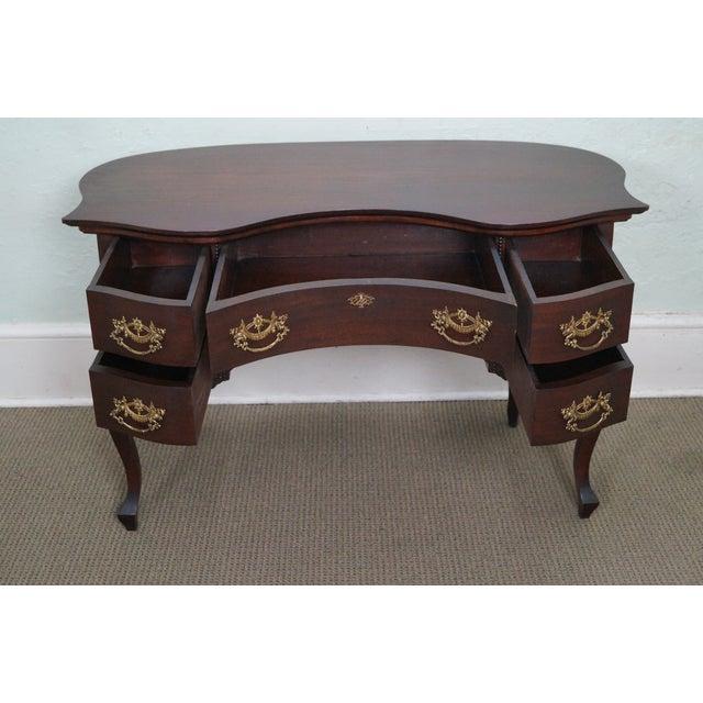 Image of Antique Victorian Mahogany Kidney Shaped Desk