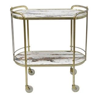 Vintage Mid Century Modern Brass Rolling Bar Tea Cart