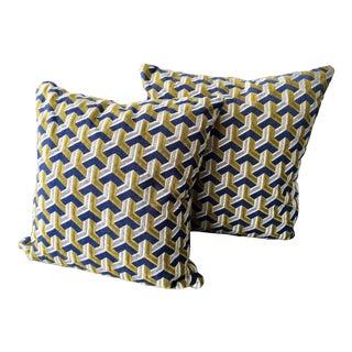 Kravet Embroidered Denim Pillows - A Pair