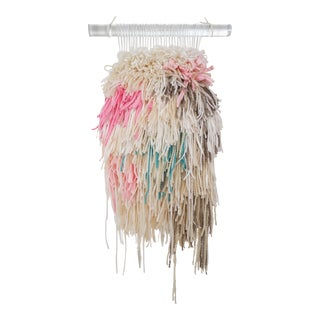 Handwoven Pink, Gray, & Turquoise Fluffy Wall Hanging on Acrylic Rod