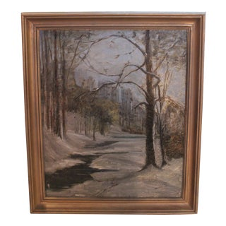 Vintage City Park in Winter Oil Painting