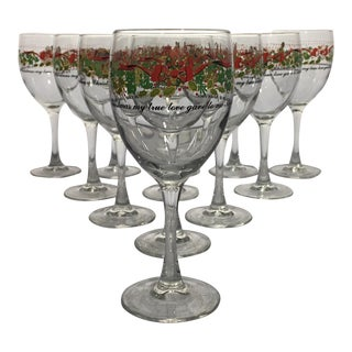 Vintage 12 Days of Christmas Wine Glasses Complete Set of 12