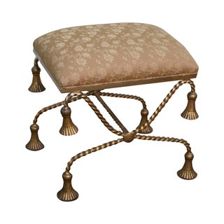 Hollywood Regency Italian Gilt Metal X Base Bench