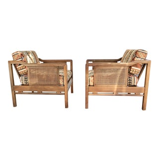 Vintage Cane & Wood Bergere Chairs - A Pair