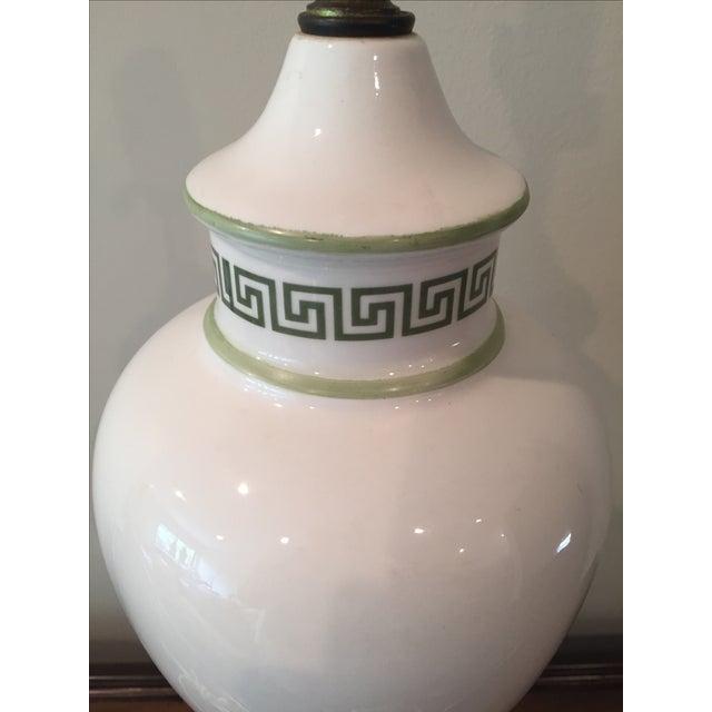 White & Light Green Greek Key Urn Lamp - Image 7 of 8