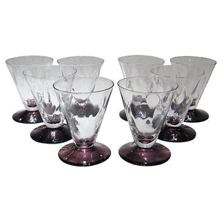 Amethyst Footed Cordials - Set of 8