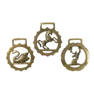 Vintage English Horse Brasses, S/3