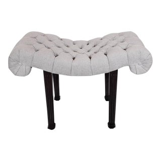 1940s Hollywood Regency Scroll Design Button Tufted Bench by Grosfeld House