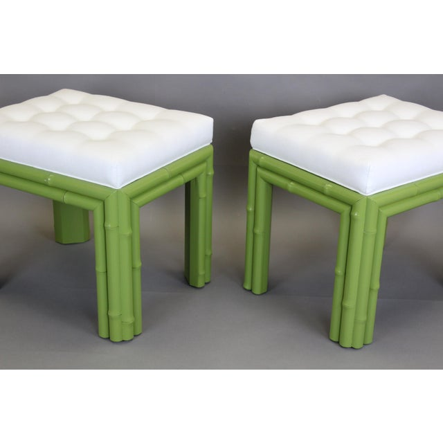 Pair of Faux Bamboo Green Benchches - Image 7 of 11