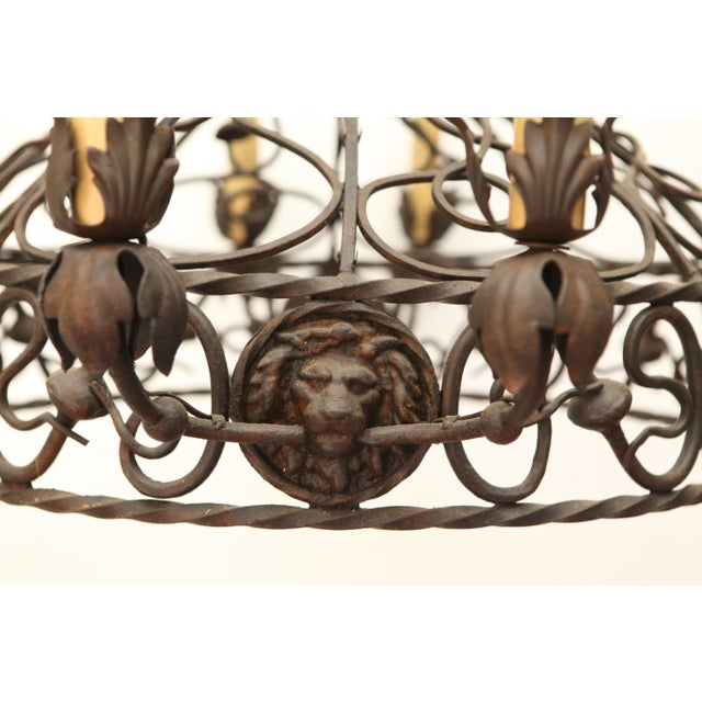 1940's Wrought Iron Chandelier - Image 4 of 8