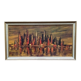 Mid-Century Carter Abstract Cityscape Print