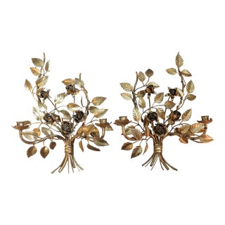 Vintage Italian Gilded Tole Wall Sconces - a Pair