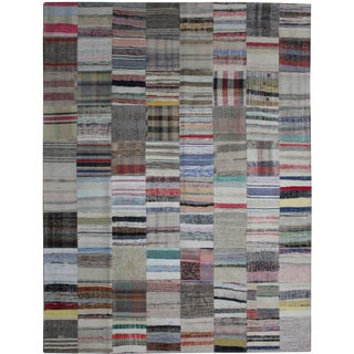 Hand Knotted Patchwork Kilim - 8′5″ × 10′