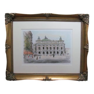 Hand Colored Etching of the Paris Opera House