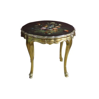 Louis XVI-Style Floral Side Table