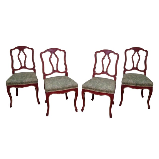 Painted frame swedish style dining chairs s 4 chairish for Swedish style dining chairs