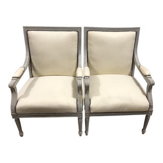 Vintage Upholstered Louis XVI Neoclassical Squareback Chairs - a Pair