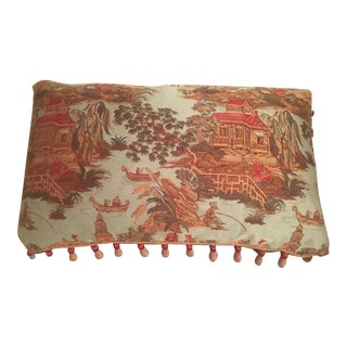 Teal Chinoiserie Pillow