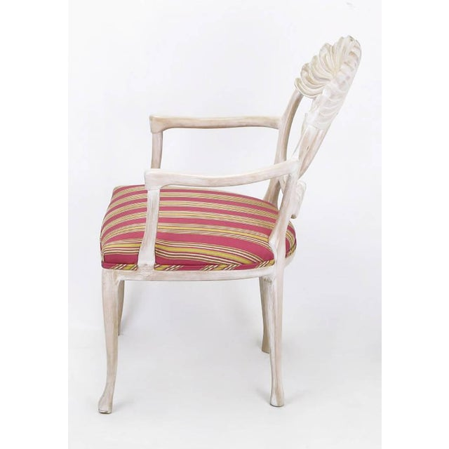 Image of Four Lime Wash Floral Carved Dining Chairs In the Manner Of Phyllis Morris
