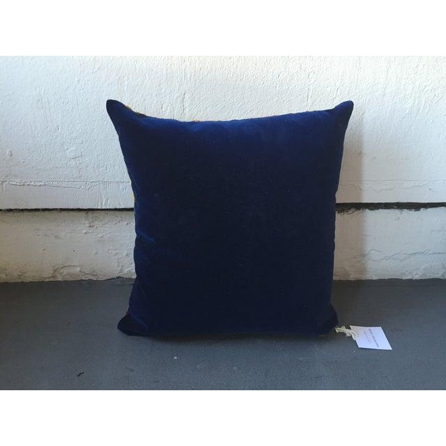 Vintage Multi-Colored Silk Velvet Ikat Pillow - Image 3 of 3