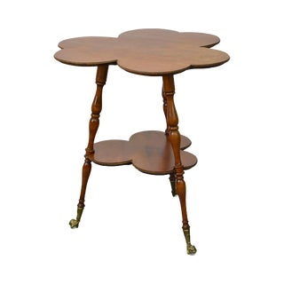 Antique Victorian Clover Shape 2 Tier Parlor Side Table