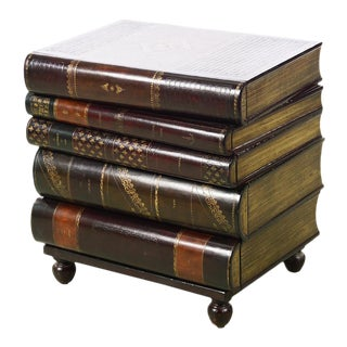 Maitland Smith -Fabulous Stacked Leather Books Form End Table w/5 Drawers