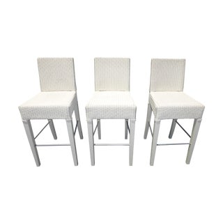 French Country White Rattan Counter Stools - 3