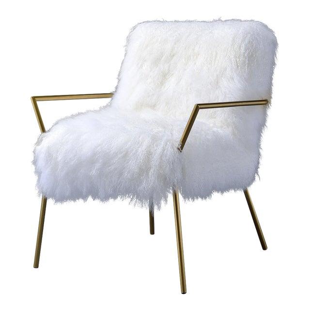 Shaggy White Bagley Leg Accent Chair Chairish