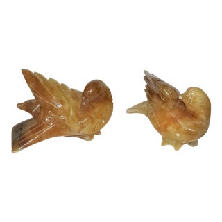 Italian Marble Carved Birds - A Pair