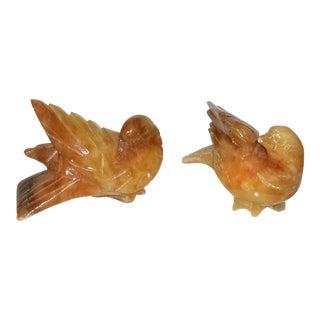 Italian Marble Carved Birds - A Pair