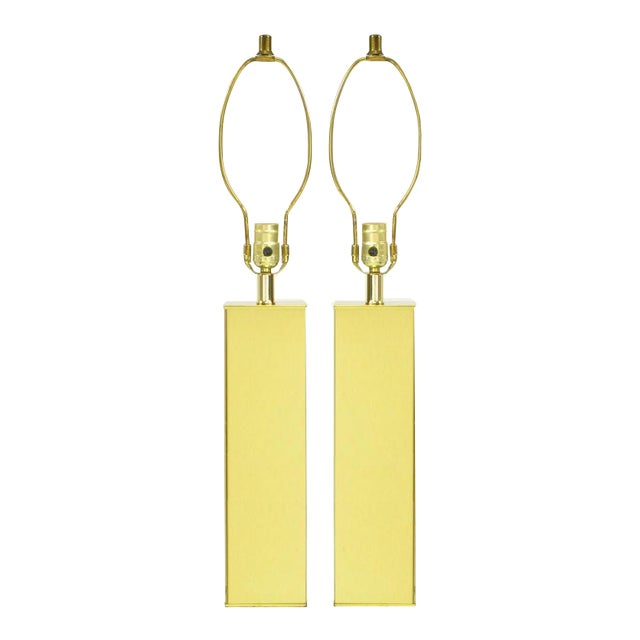 Pair Polished Brass Column Table Lamps - Image 1 of 6