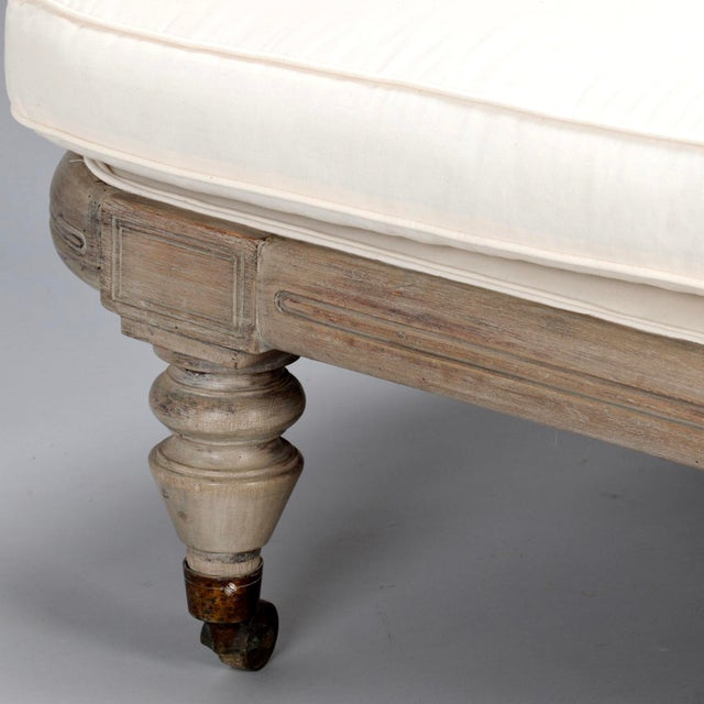 French Chaise Longue with Bleached Wood Frame - Image 10 of 11