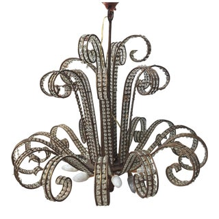 Crystal & Iron Fountain Chandelier